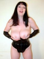 Happy babe in latex
