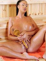 Emma Butt in the sauna