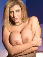 Sexy blonde Sara Jay in fishnet
