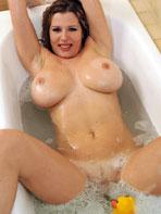 Busty blonde Britney bathing