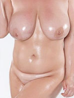 Chubby Scoreland model Bex Shiner with oily tits
