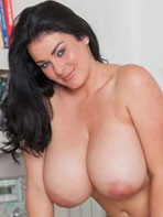 Karla James wears a black and white bra