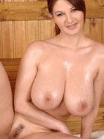 Big tits in sauna