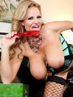Kelly Madison with a red dildo