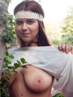 Marina Visconti posing outdoors for Zishy