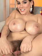 Mischel Lee showing her hairy pussy and big tits