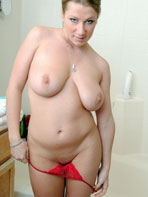 Amateur model Kathrin showering