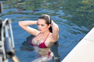 Tessa Fowler Wearing A Red Bikini In The Pool